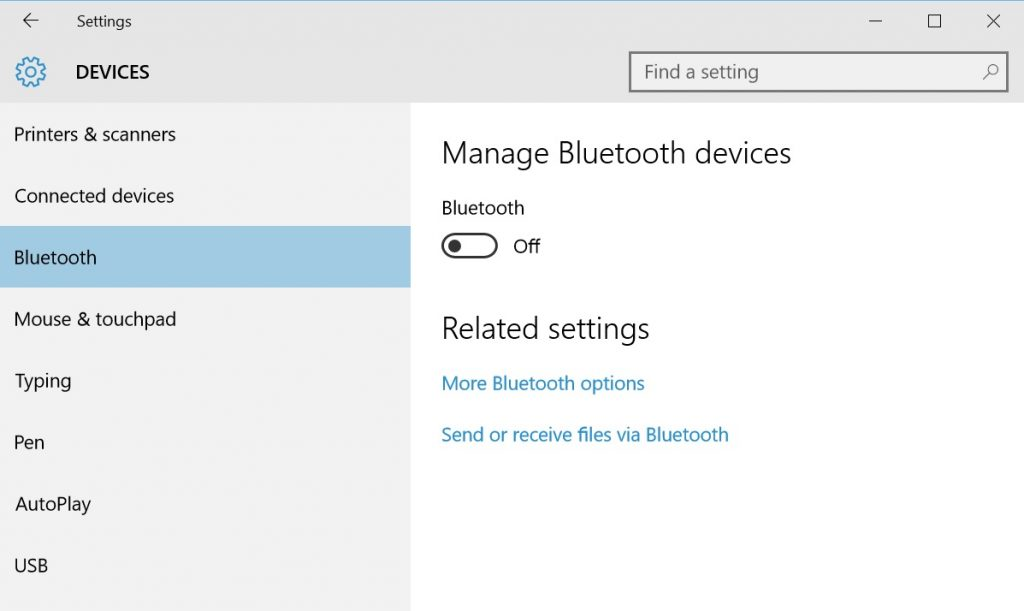Turn Bluetooth Radio Off on Windows 10