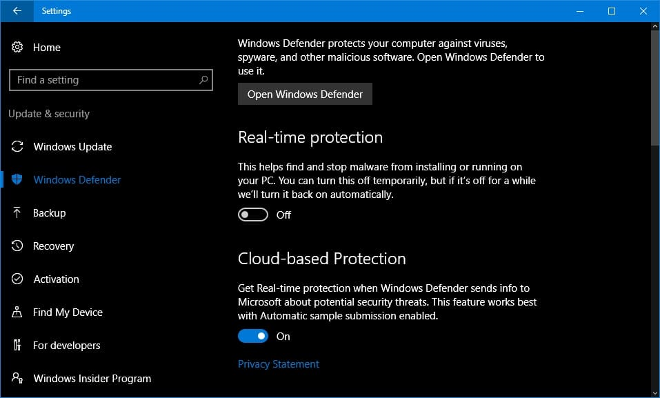 Turn off Windows Defender Real-time protection feature