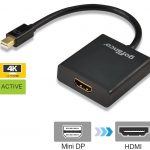 gofanco® Active Gold Plated Mini DisplayPort to HDMI Converter 4K (Black) - Thunderbolt 2 Compatible with Eyefinity Support, DisplayPort 1.2