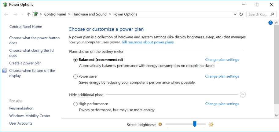 Power Plans on Surface