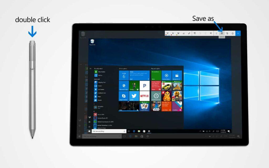 Take a screenshot using the Surface Pen