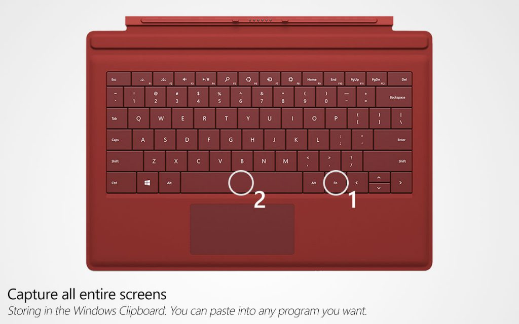 Taking a screenshot using Surface Type Cover - Method 2
