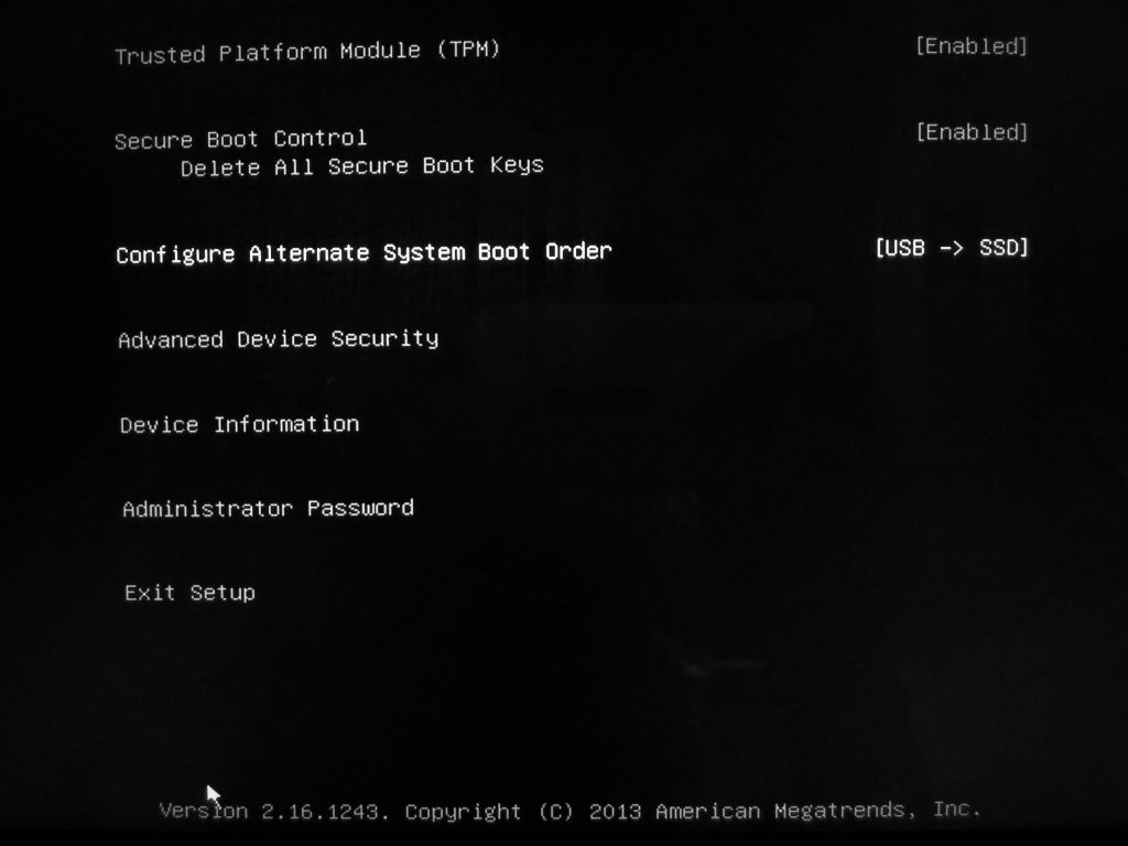 Surface Pro 3 UEFI Settings - Boot Order