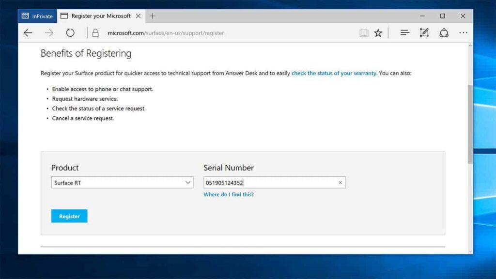 Surface RT Registration Steps