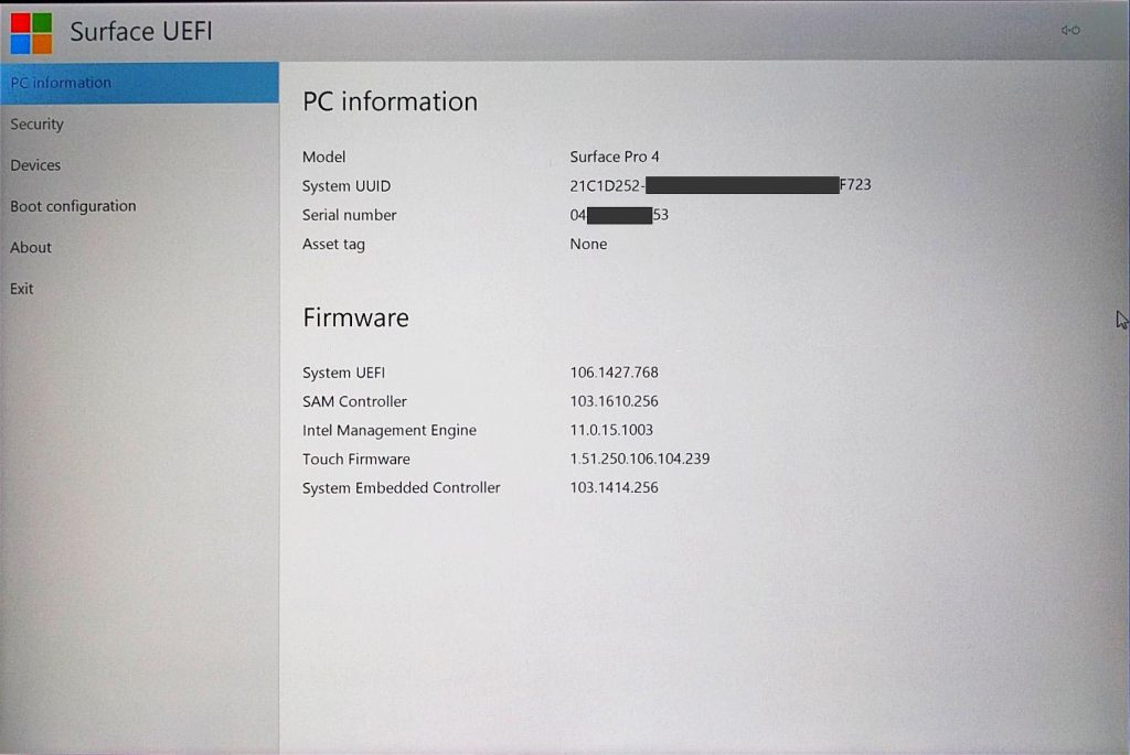 Surface Pro 4 - UEFI > PC Information
