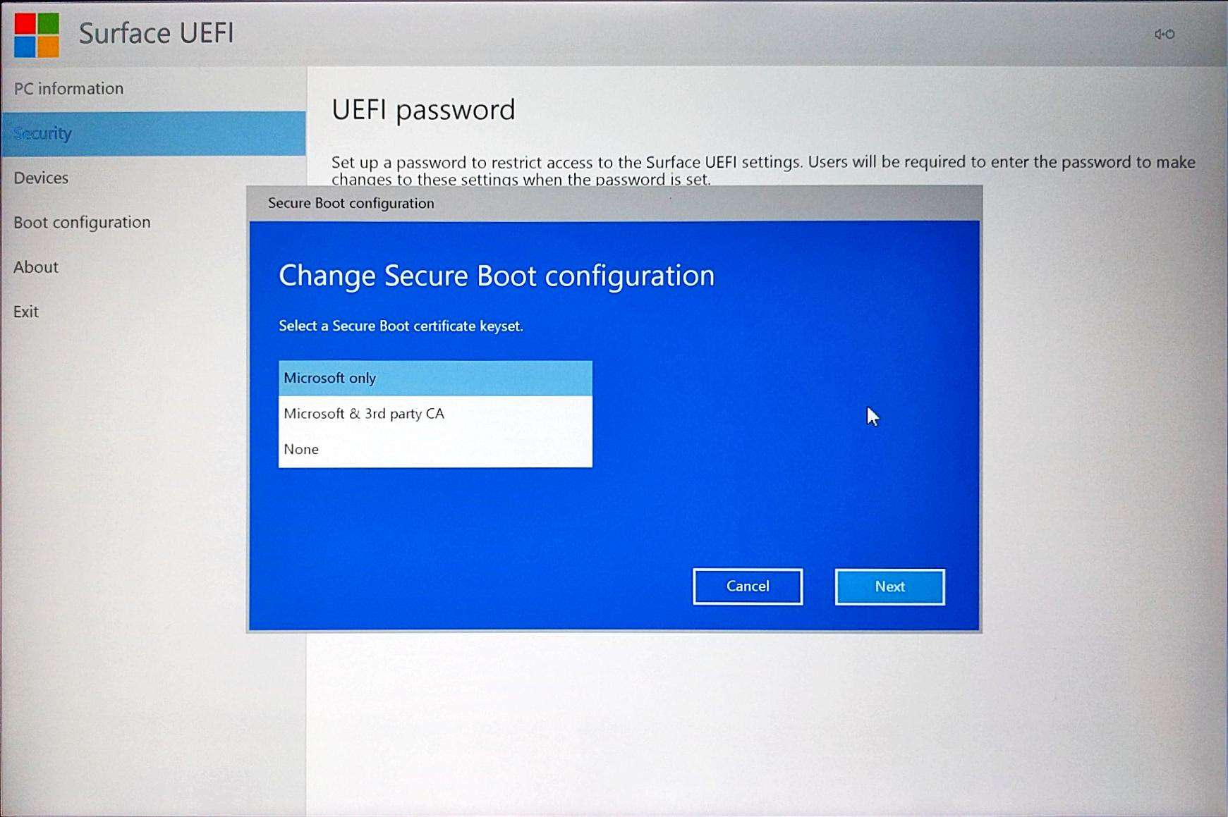 Surface Pro 4 - UEFI > Security > Change Configuration