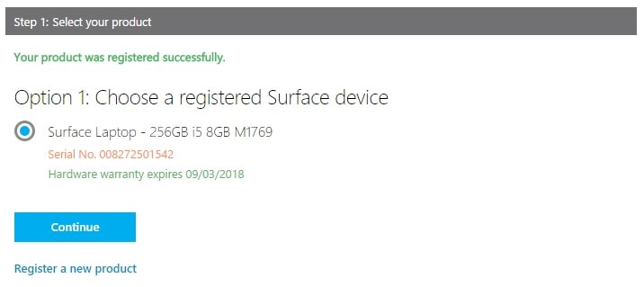 Select your registered Surface Laptop