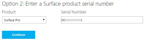 Option 2 - enter your Surface Pro (2017) serial number
