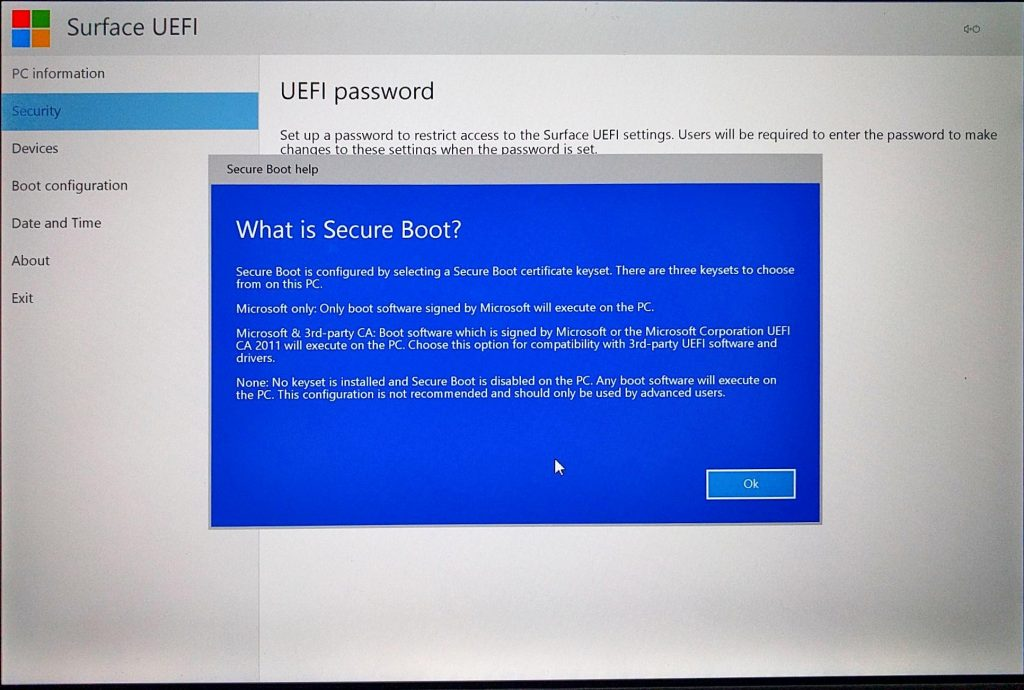 Surface Pro (2017) UEFI > What is Secure Boot?