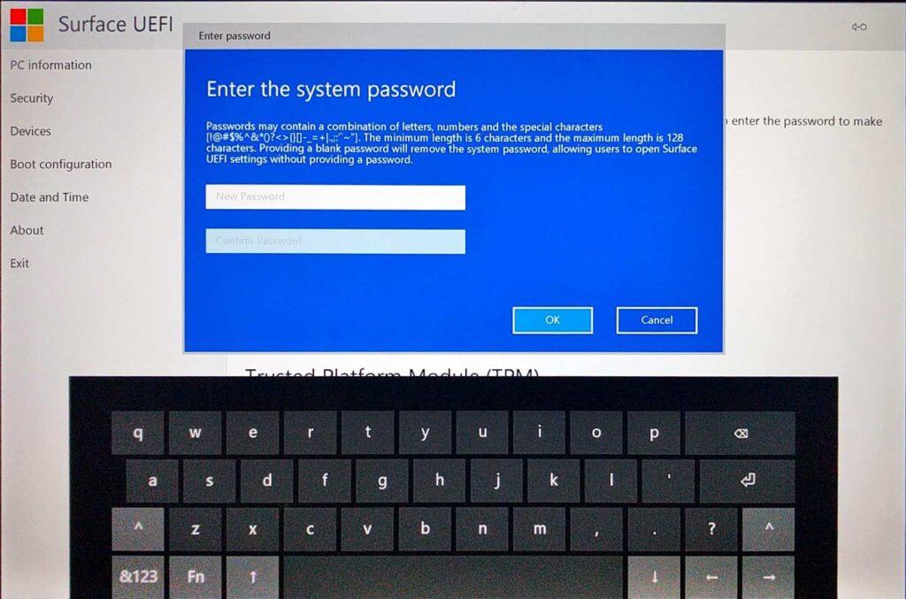 Surface Pro (2017) UEFI > Add Password