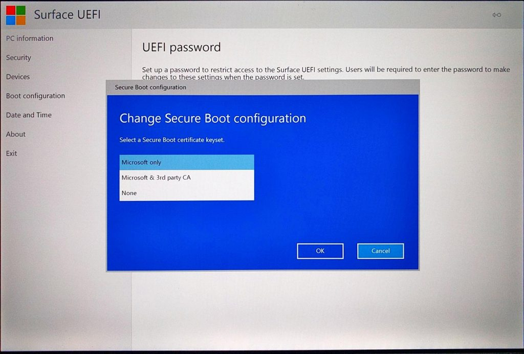 Surface Pro (2017) UEFI > Change Secure Boot Configuration