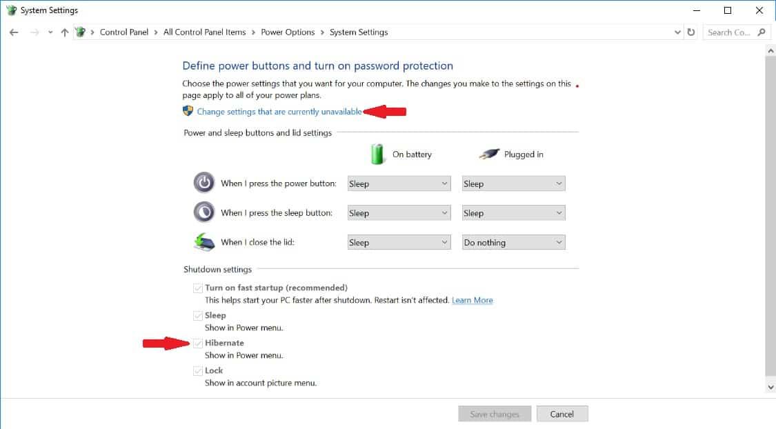 Surface System Power Settings with Hibernate option