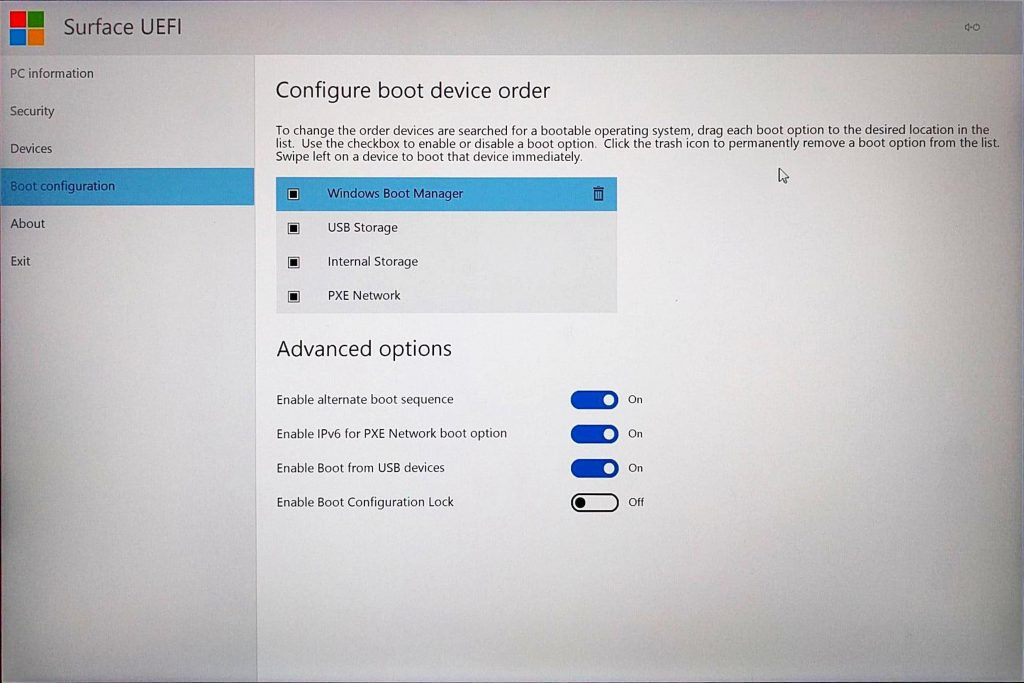 Surface Book UEFI > Boot Configuration