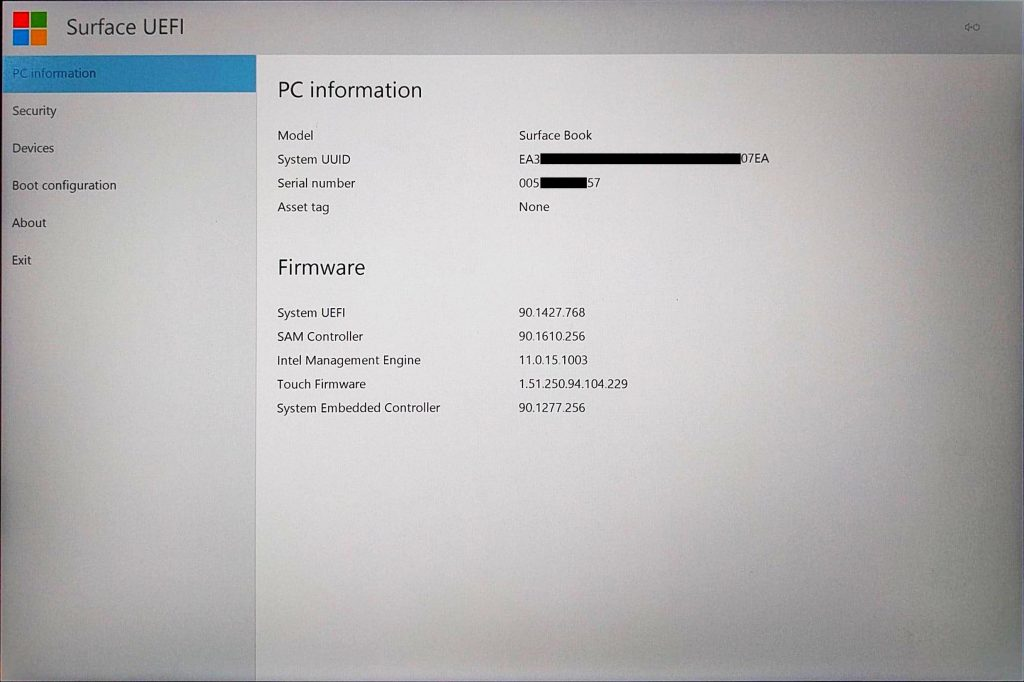 Surface Book UEFI > PC Information