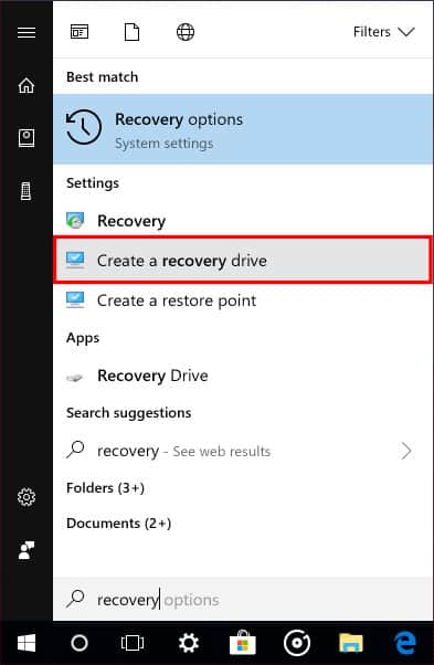 Open Create a recovery drive tool