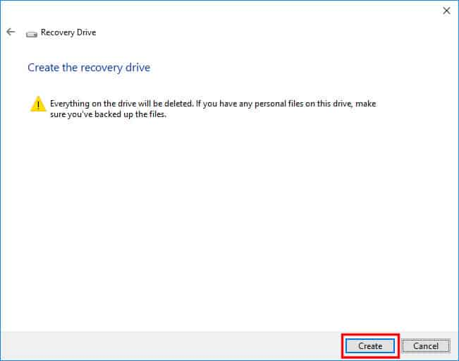 Confirm Creating the Recovery Drive