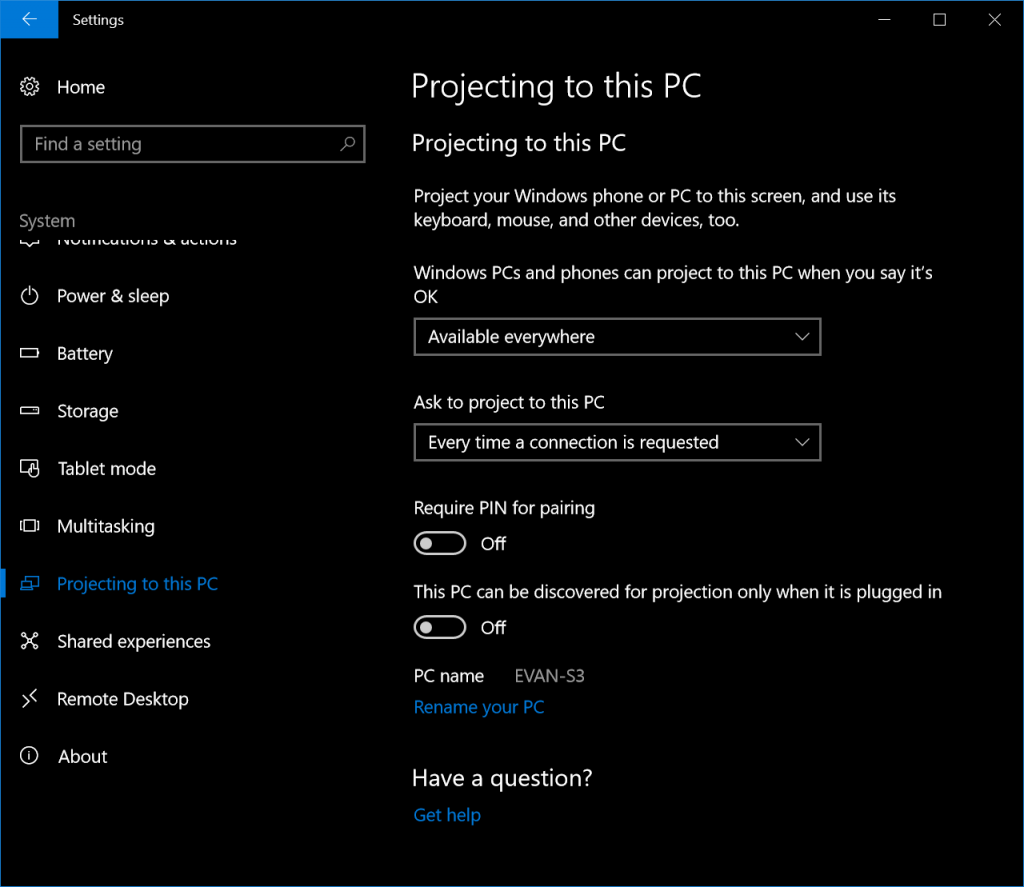 Projecting to this PC - Windows 10