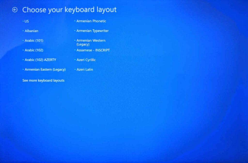 Choose Keyboard Layout