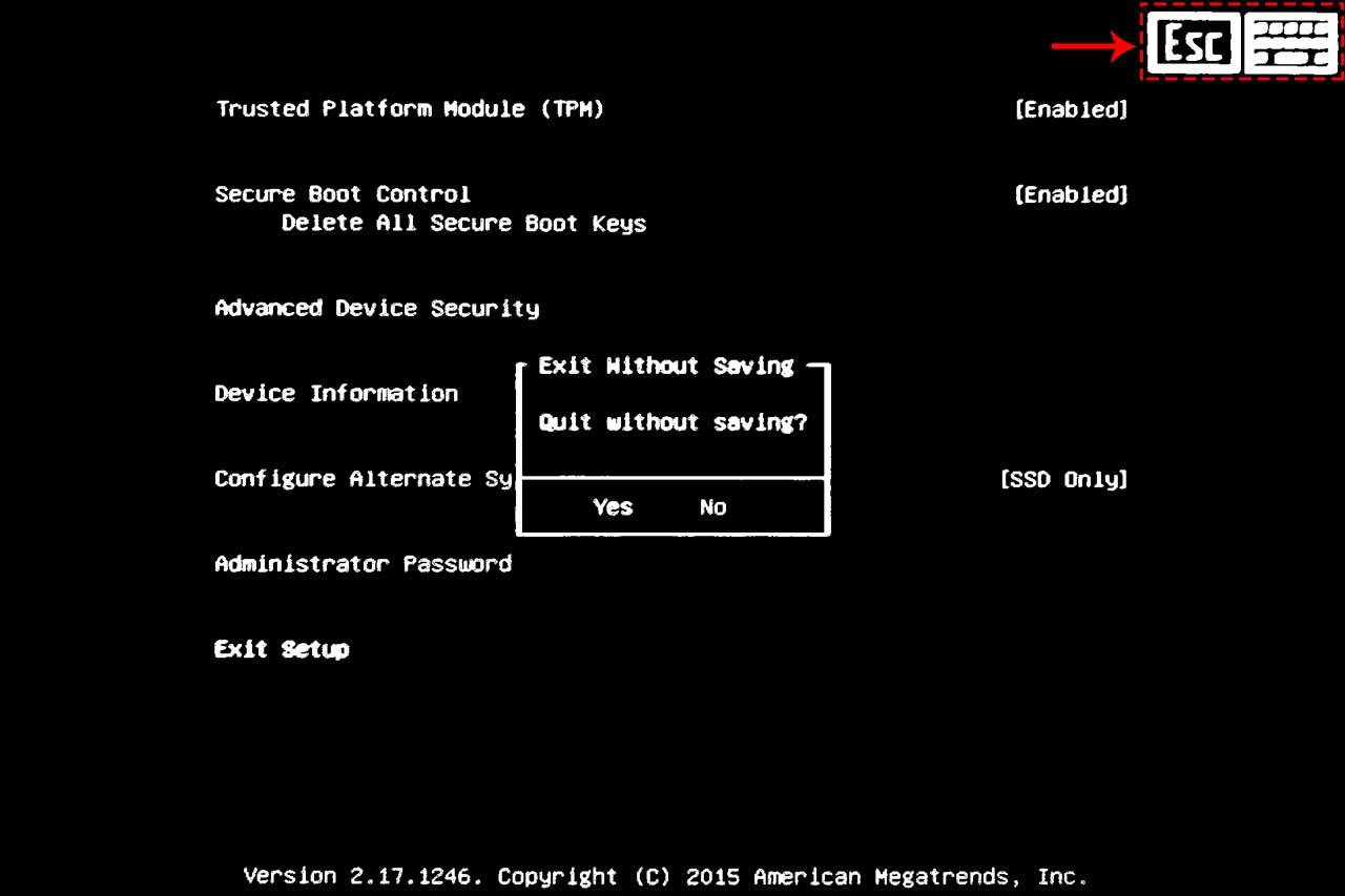 Surface 3 UEFI - Exit without Saving