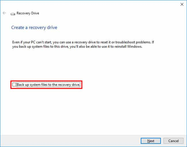 Uncheck Backup System Files option