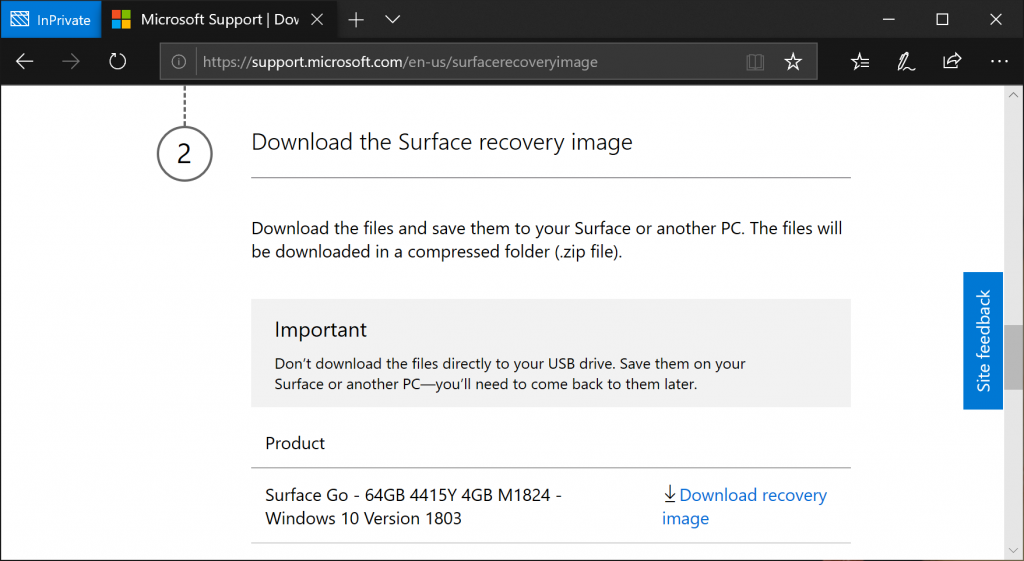 Download Surface Go Recovery Image