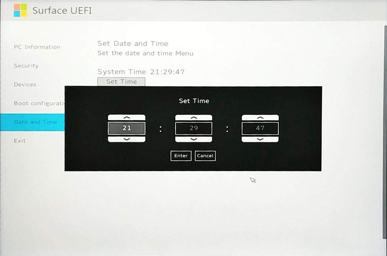 Surface Go UEFI - Set Time