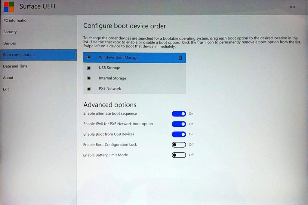 Surface UEFI - Boot Configuration Page