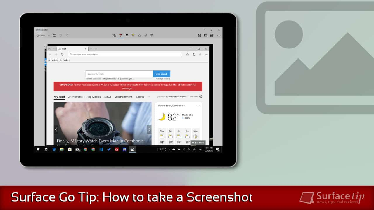 Screenshot on Surface Go