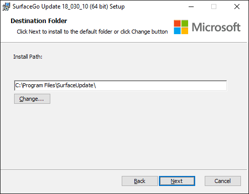 Surface Go Update Setup - Pick installation path