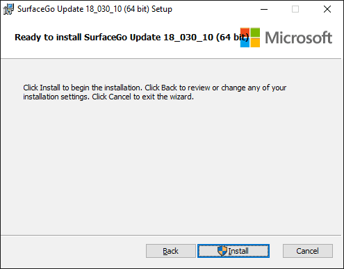 Surface Go Update Setup - Confirm to install