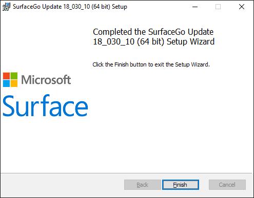Surface Go Update Setup - Start page
