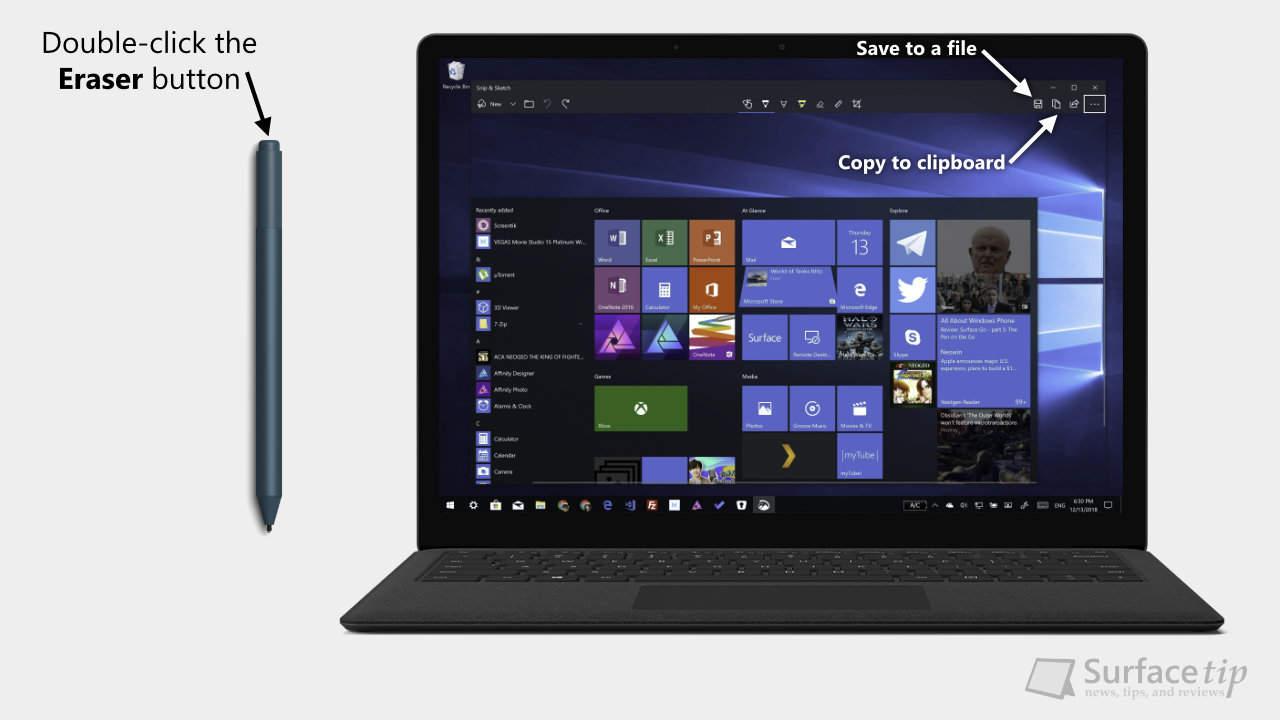 Surface Laptop - Take Screenshot via Surface Pen