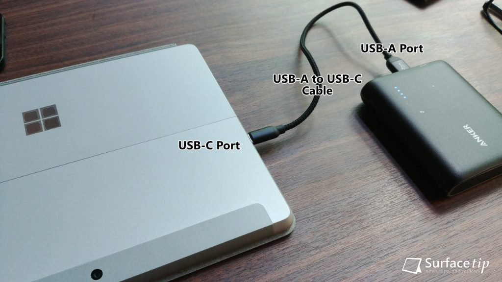 Charging Surface Go with Power Bank via USB-A to USB-C cable