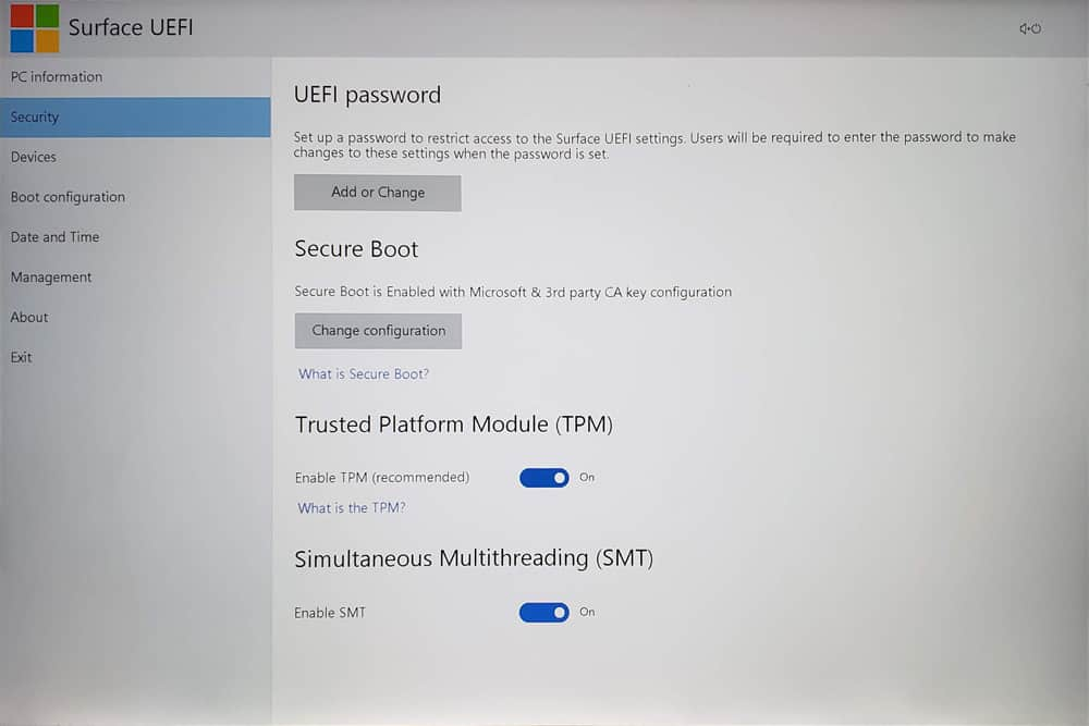 Surface Laptop 3 UEFI - Security 01